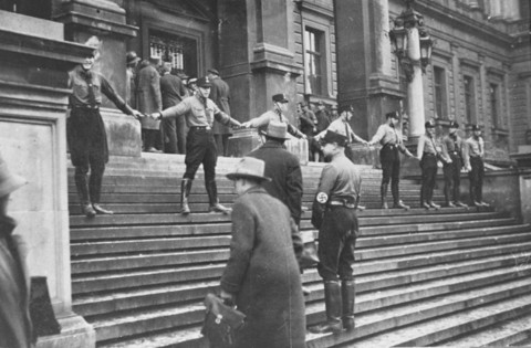 SA men blockade the University of Vienna, to prevent Jews from entering